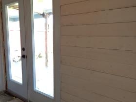 New patio doors, new shiplap