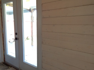 New patio doors, new shiplap